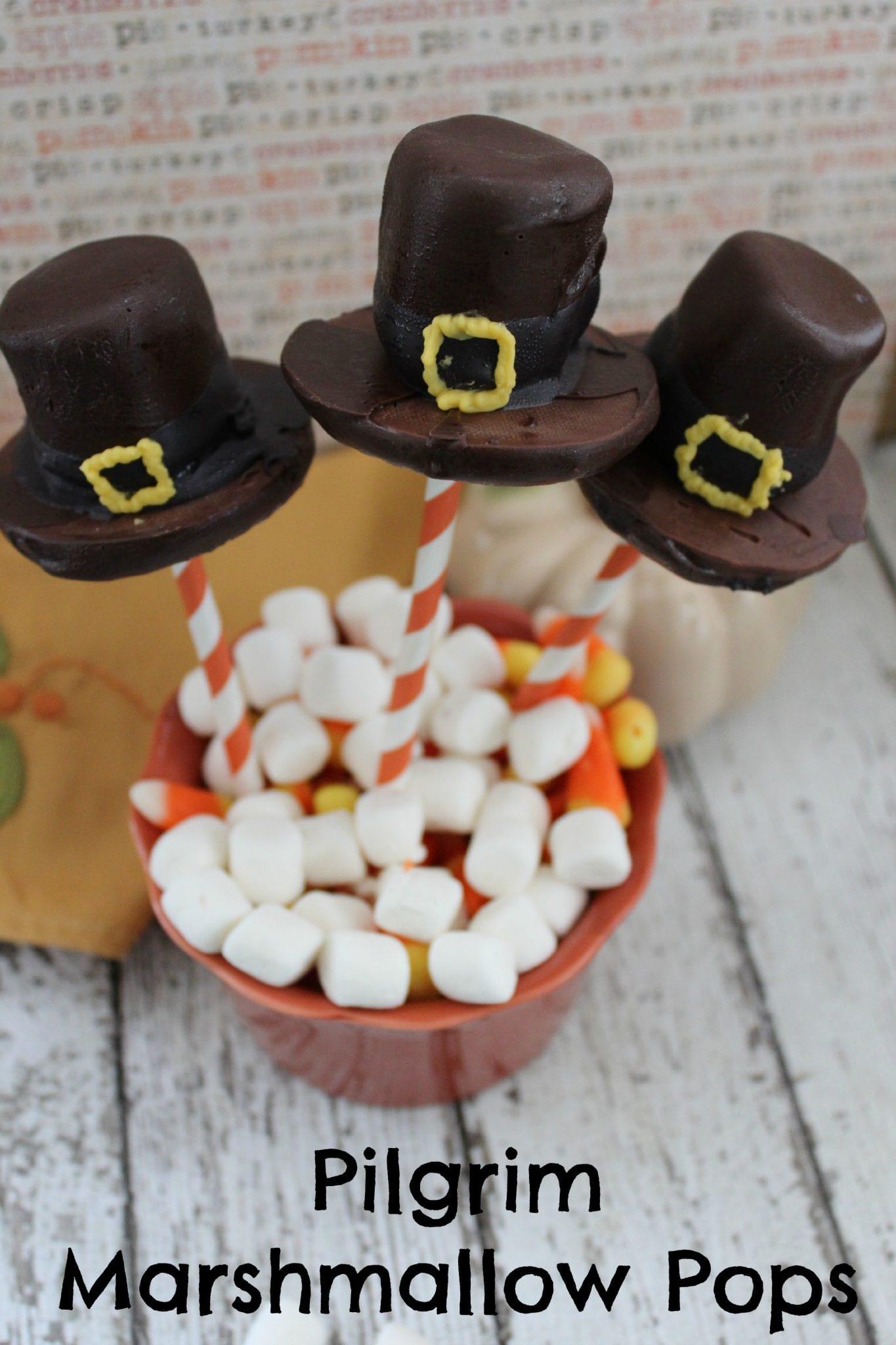 Pilgrim Hat Marshmallow Pops