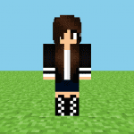 Black & White Creeper Girl Minecraft Skin