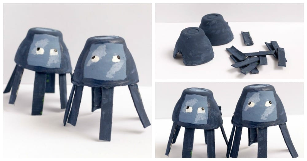 Minecraft-Inspired Egg Carton Squids