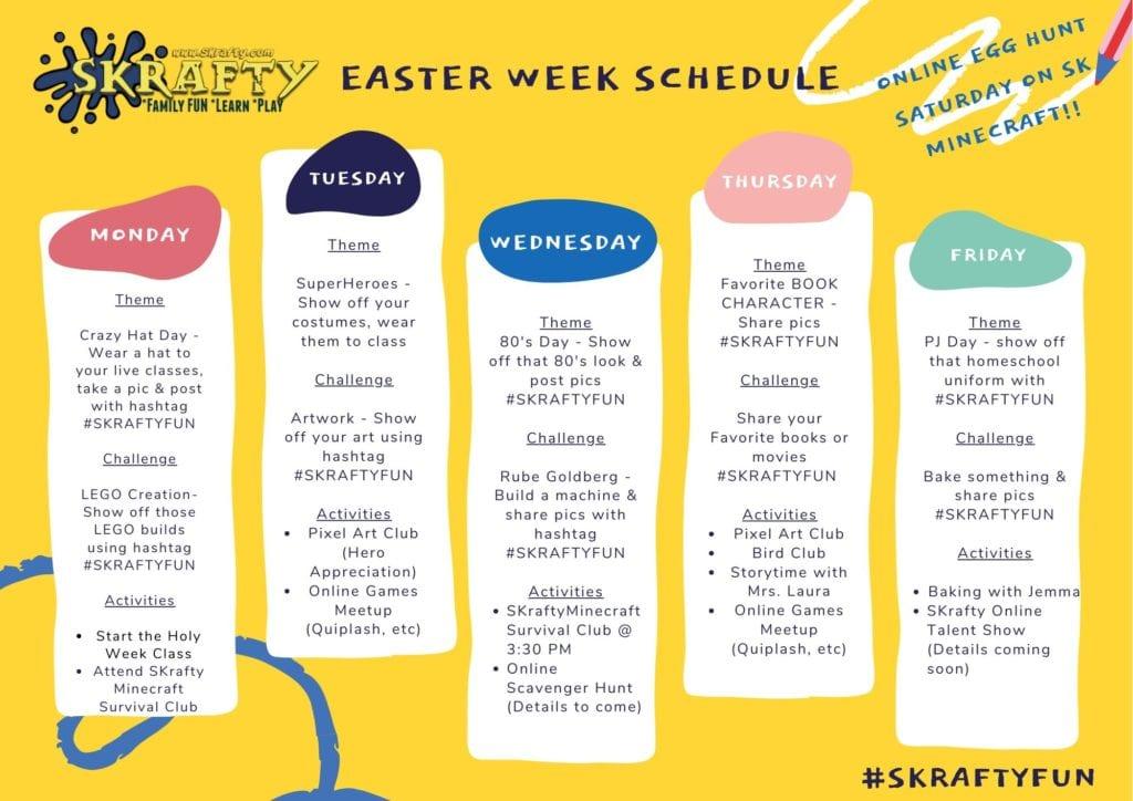 SKrafty Easter Schedule